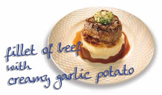 Fillet steak and creamy garlic potatoes