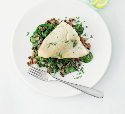 Fillet of haddock with lemon & dill lentils