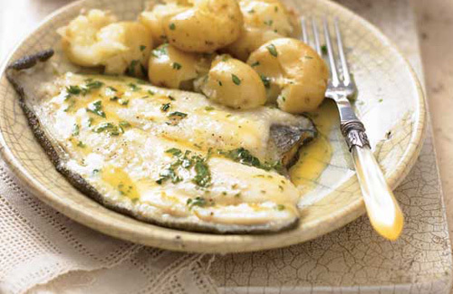 Plaice with lemon parsley butter and crushed potatoes recipe