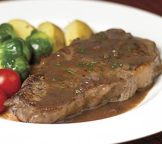 Pan-seared Striploin Steaks with Bordelaise Sauce!